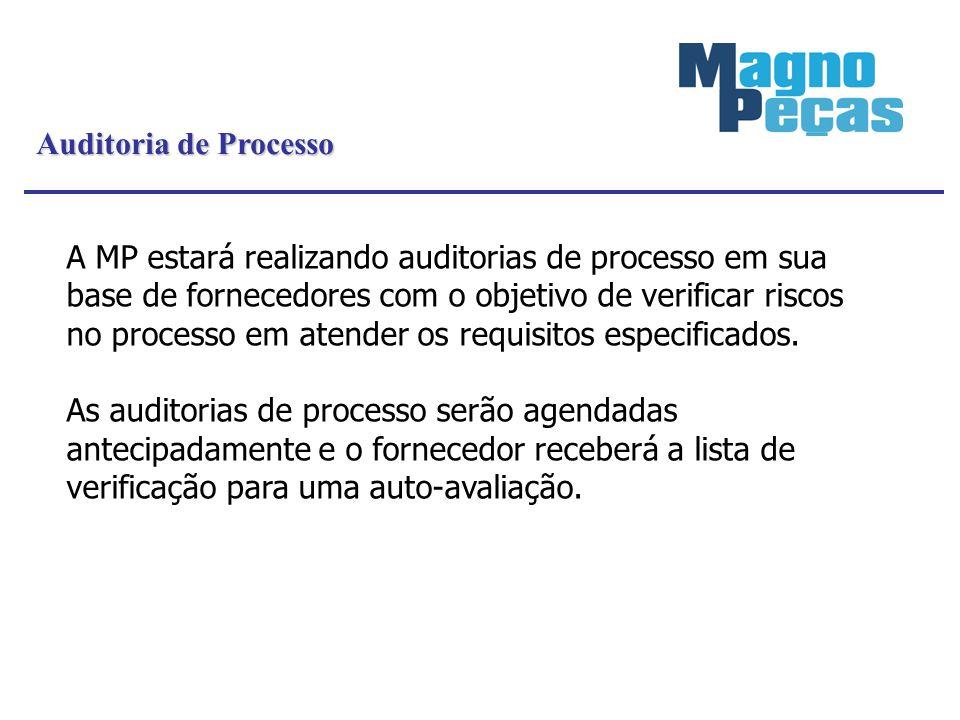 A MP estará realizando auditorias de processo em sua base de fornecedores com o objetivo de verificar riscos no processo em atender os requisitos espe