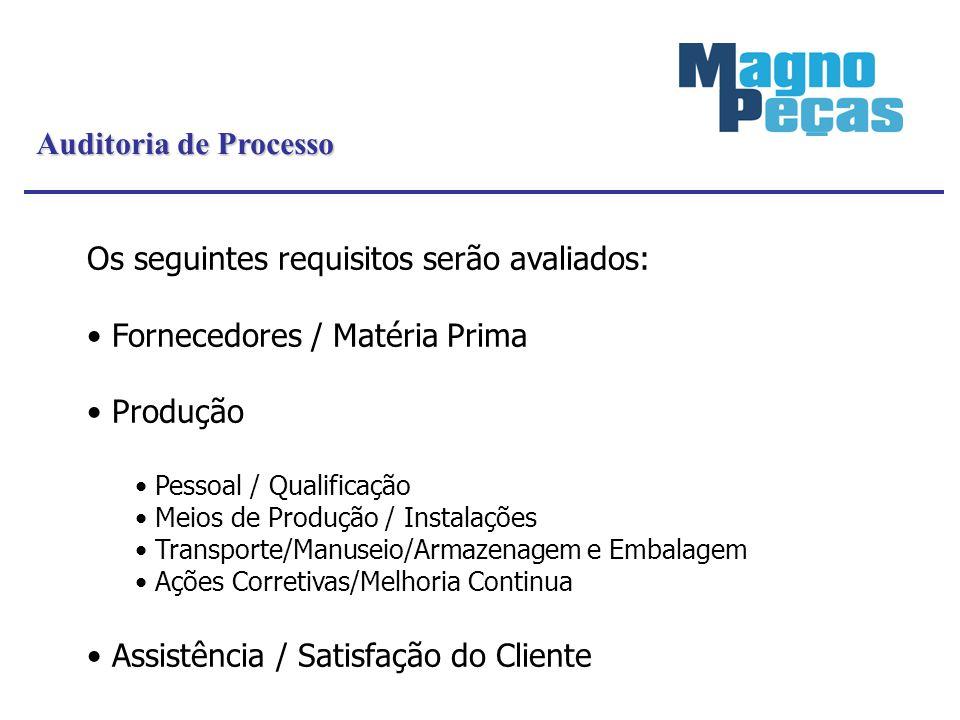 Auditoria de Processo Os seguintes requisitos serão avaliados: Fornecedores / Matéria Prima Produção Pessoal / Qualificação Meios de Produção / Instal