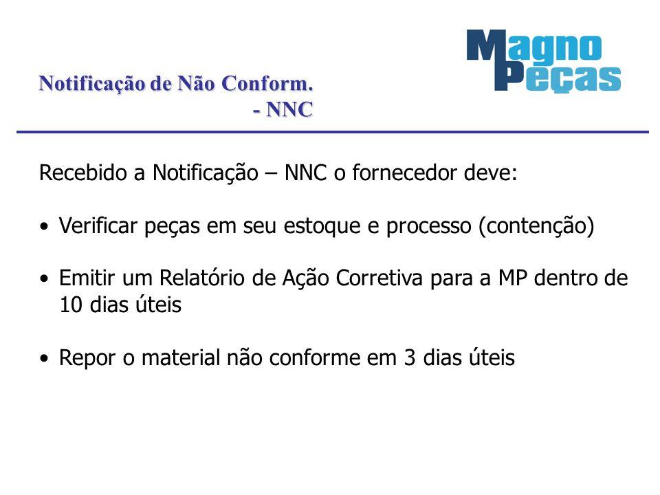 Notificação de Não Conform. - NNC - NNC Recebido a Notificação – NNC o fornecedor deve: Verificar peças em seu estoque e processo (contenção) Emitir u