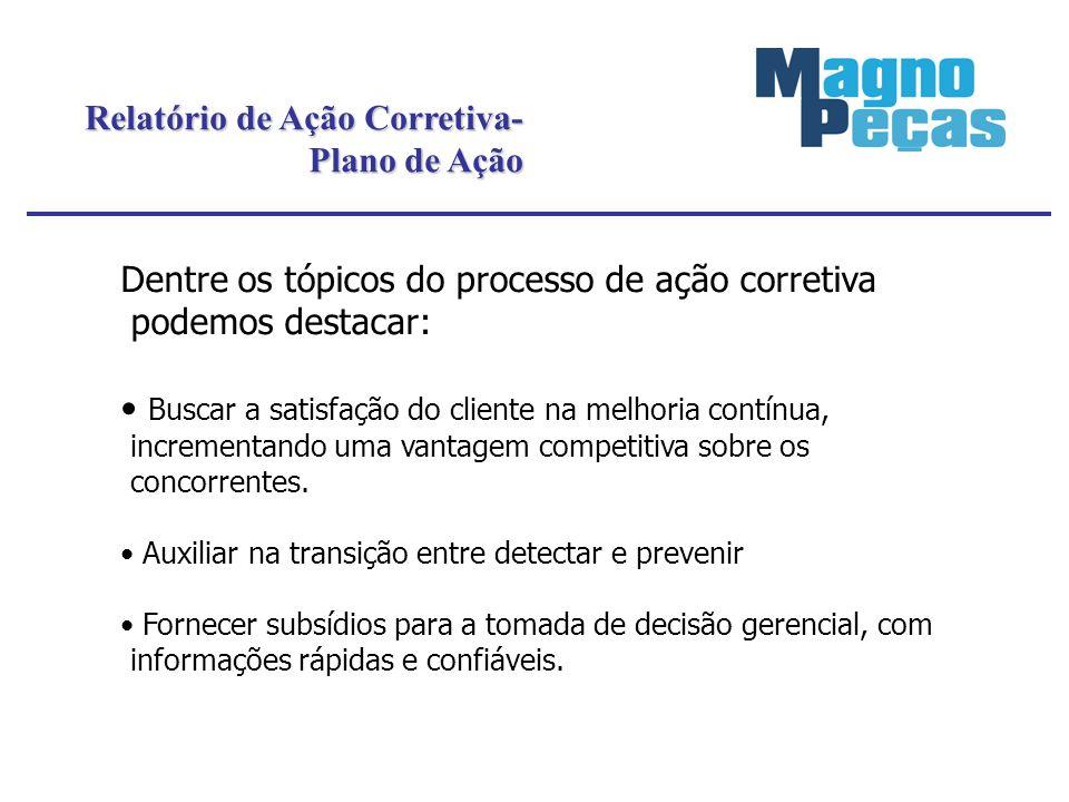 Relatório de Ação Corretiva- Plano de Ação Dentre os tópicos do processo de ação corretiva podemos destacar: Buscar a satisfação do cliente na melhori