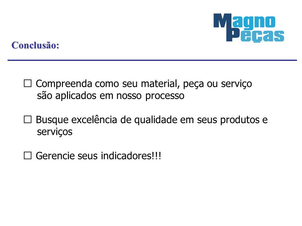 Conclusão: Compreenda como seu material, peça ou serviço são aplicados em nosso processo Busque excelência de qualidade em seus produtos e serviços Ge