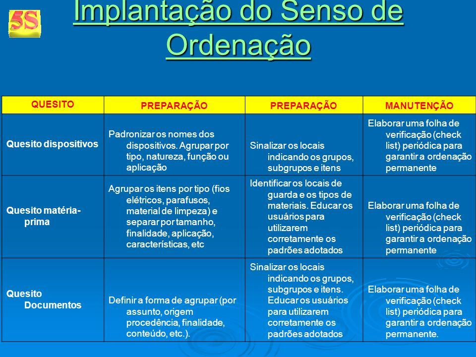 Implantação do Senso de Ordenação Implantação do Senso de Ordenação QUESITO PREPARAÇÃO MANUTENÇÃO Quesito dispositivos Padronizar os nomes dos disposi