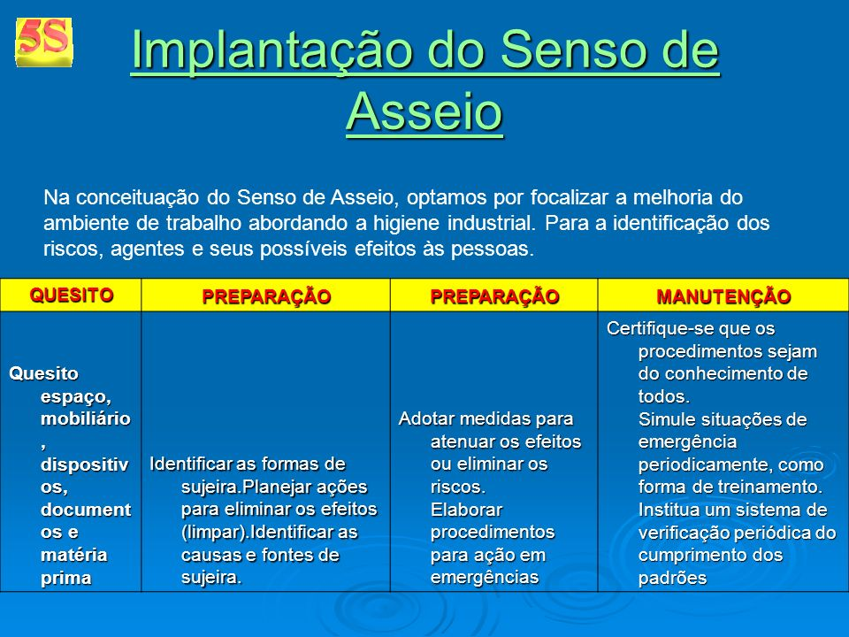 Implantação do Senso de Asseio Implantação do Senso de Asseio Na conceituação do Senso de Asseio, optamos por focalizar a melhoria do ambiente de trab