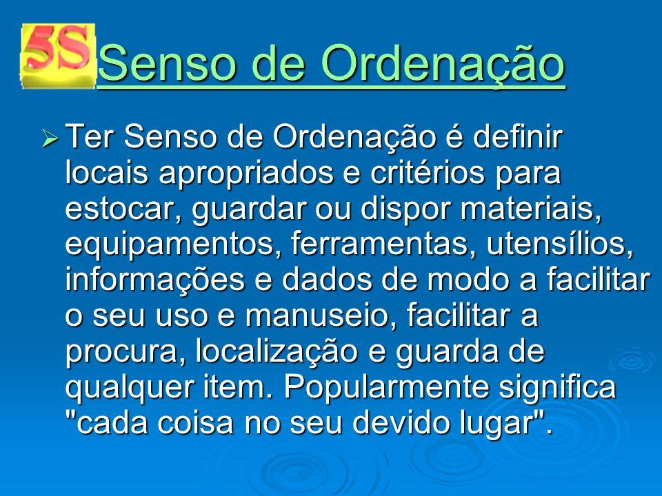 Senso de Ordenação Senso de Ordenação Ter Senso de Ordenação é definir locais apropriados e critérios para estocar, guardar ou dispor materiais, equip