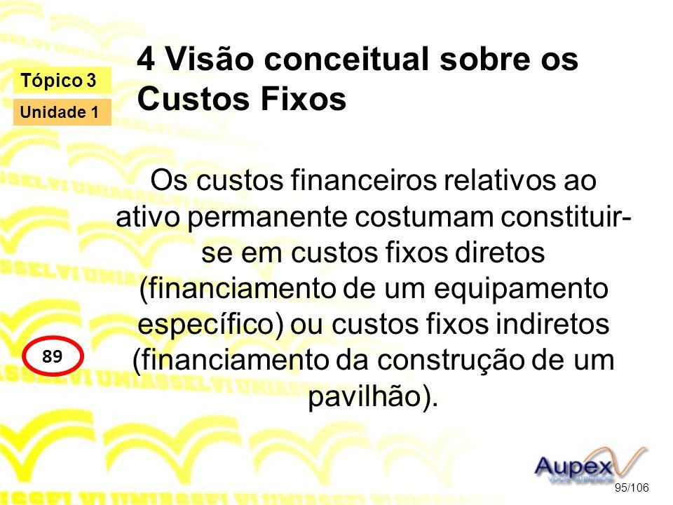 4 Visão conceitual sobre os Custos Fixos Os custos financeiros relativos ao ativo permanente costumam constituir- se em custos fixos diretos (financia