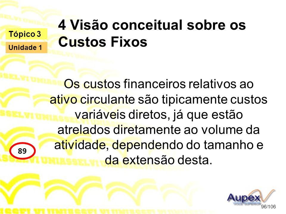 4 Visão conceitual sobre os Custos Fixos Os custos financeiros relativos ao ativo circulante são tipicamente custos variáveis diretos, já que estão at