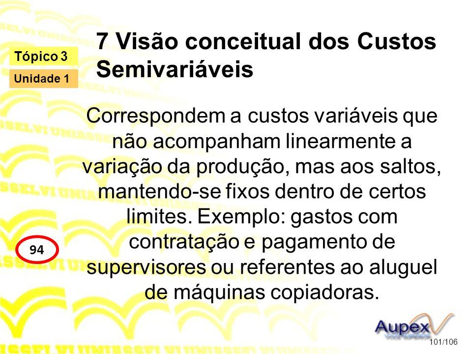 7 Visão conceitual dos Custos Semivariáveis Correspondem a custos variáveis que não acompanham linearmente a variação da produção, mas aos saltos, man
