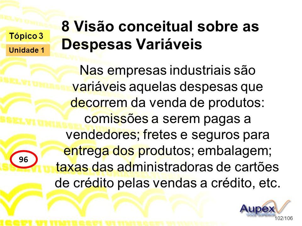 8 Visão conceitual sobre as Despesas Variáveis Nas empresas industriais são variáveis aquelas despesas que decorrem da venda de produtos: comissões a