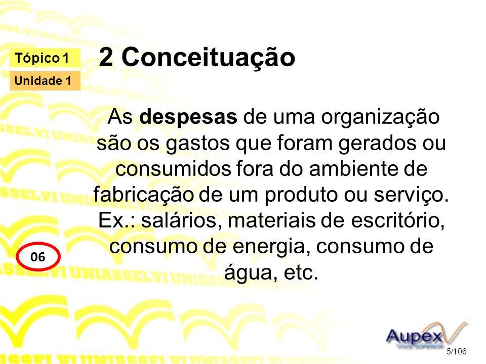 2 Conceituação As despesas de uma organização são os gastos que foram gerados ou consumidos fora do ambiente de fabricação de um produto ou serviço. E