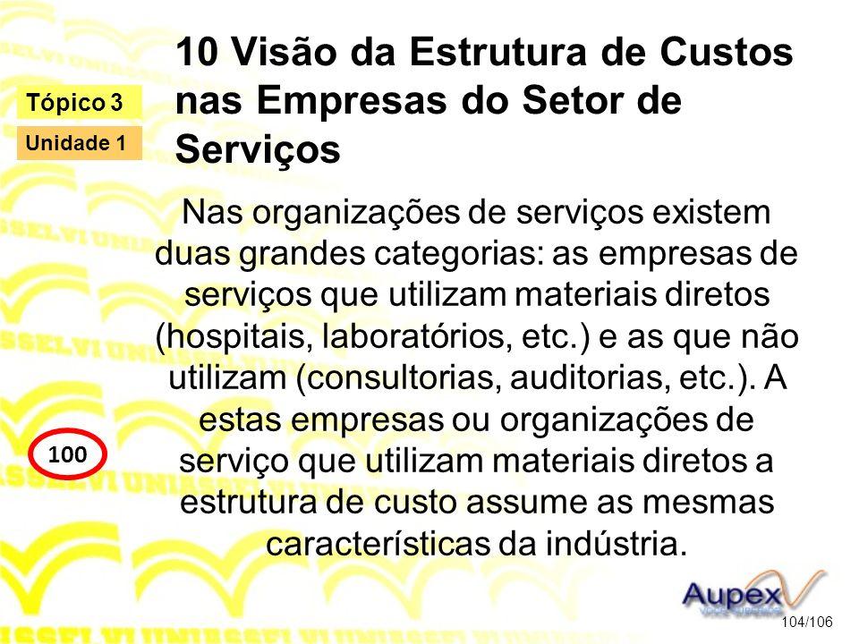 10 Visão da Estrutura de Custos nas Empresas do Setor de Serviços Nas organizações de serviços existem duas grandes categorias: as empresas de serviço