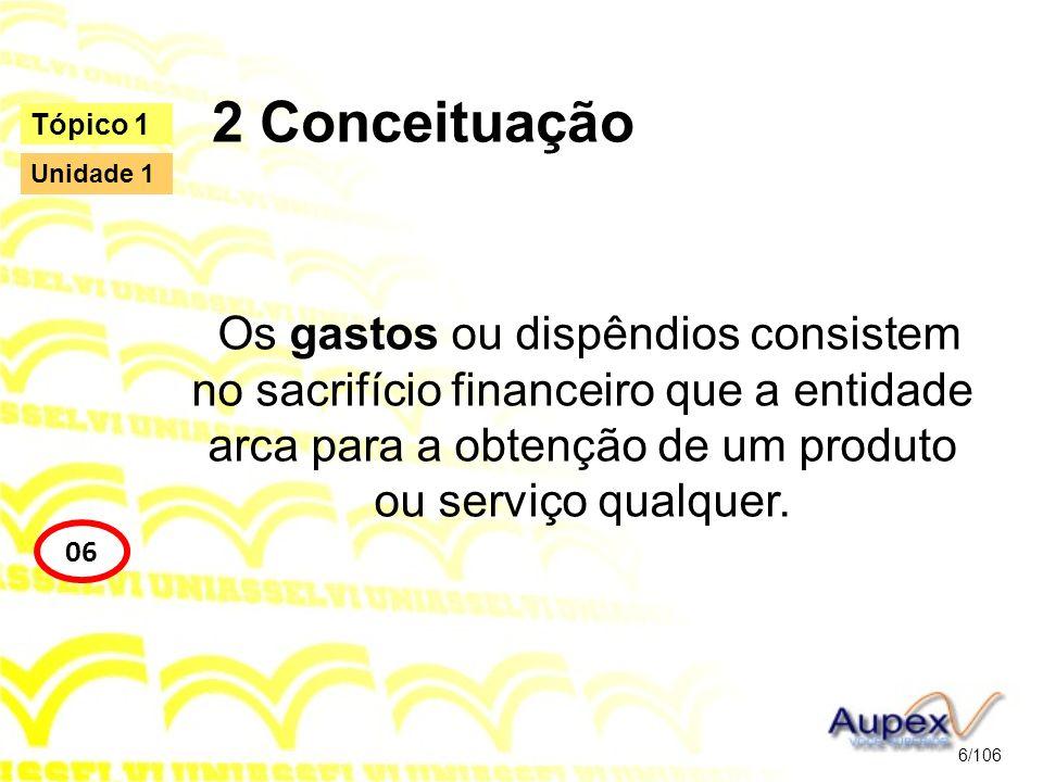 2 Conceituação Os gastos ou dispêndios consistem no sacrifício financeiro que a entidade arca para a obtenção de um produto ou serviço qualquer. 6/106