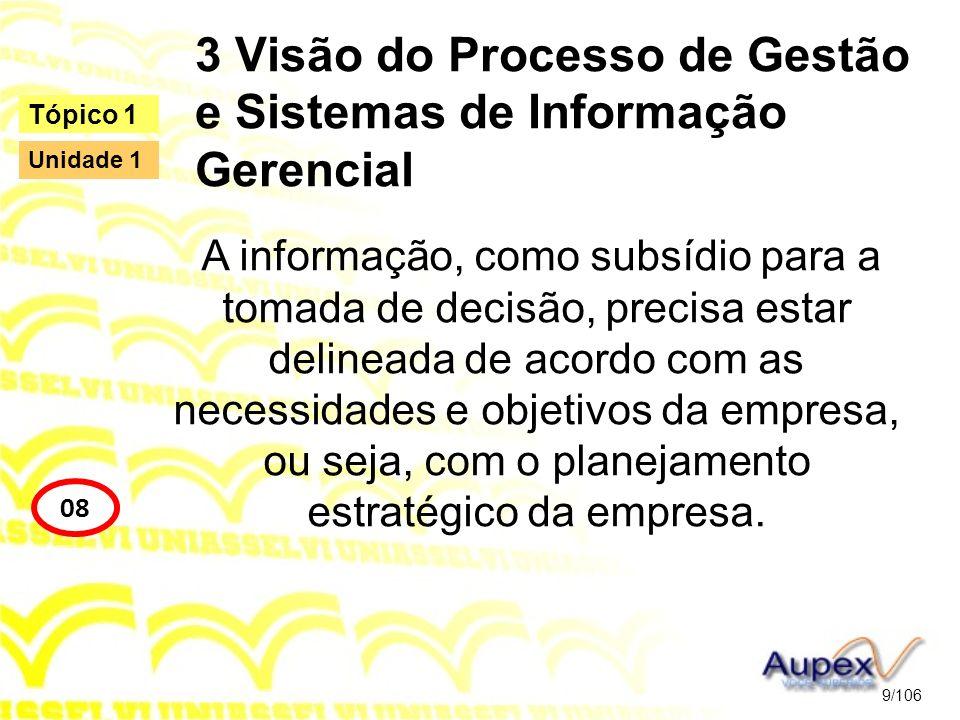 3 Visão do Processo de Gestão e Sistemas de Informação Gerencial A informação, como subsídio para a tomada de decisão, precisa estar delineada de acor