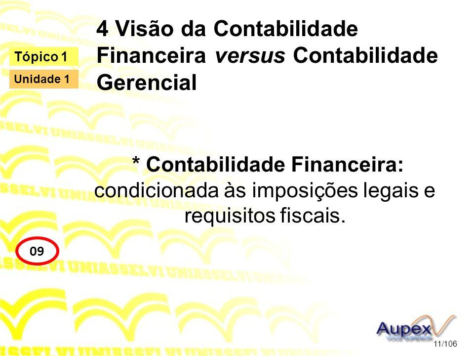 4 Visão da Contabilidade Financeira versus Contabilidade Gerencial * Contabilidade Financeira: condicionada às imposições legais e requisitos fiscais.