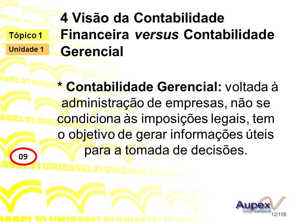 4 Visão da Contabilidade Financeira versus Contabilidade Gerencial * Contabilidade Gerencial: voltada à administração de empresas, não se condiciona à