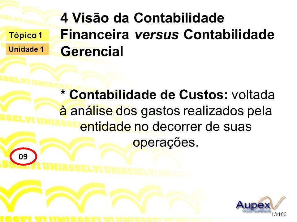 4 Visão da Contabilidade Financeira versus Contabilidade Gerencial * Contabilidade de Custos: voltada à análise dos gastos realizados pela entidade no