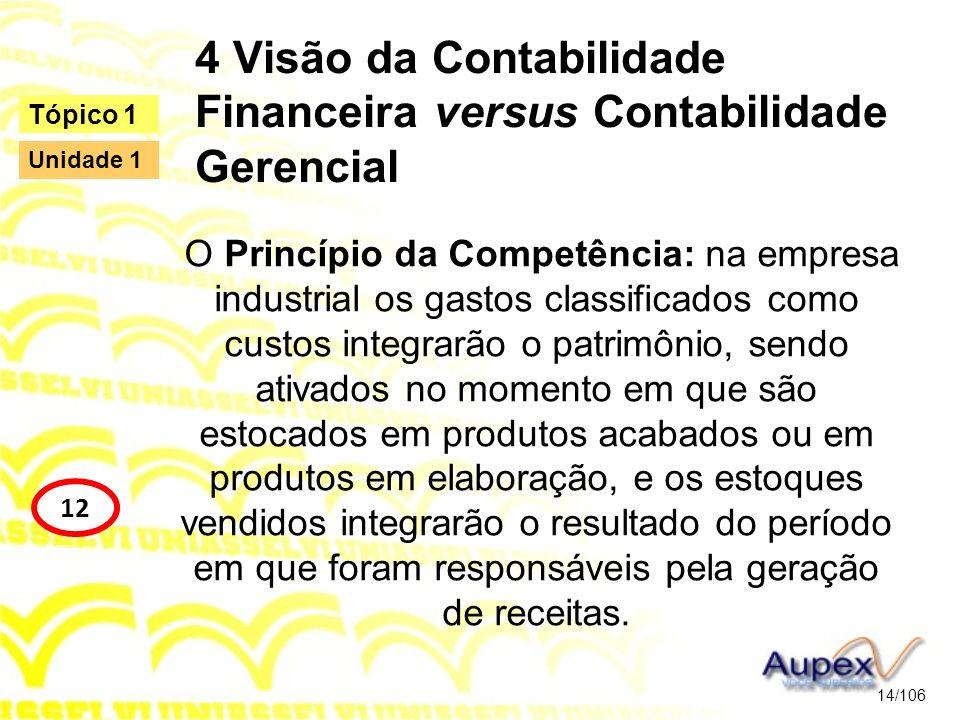 4 Visão da Contabilidade Financeira versus Contabilidade Gerencial O Princípio da Competência: na empresa industrial os gastos classificados como cust