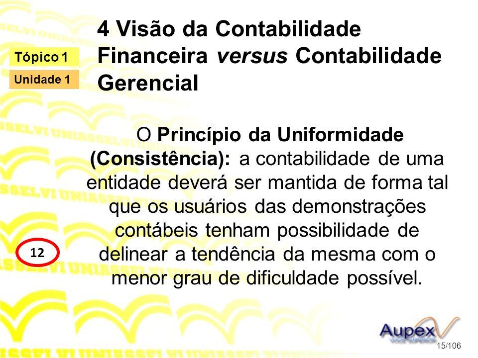 4 Visão da Contabilidade Financeira versus Contabilidade Gerencial O Princípio da Uniformidade (Consistência): a contabilidade de uma entidade deverá