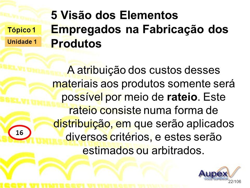 5 Visão dos Elementos Empregados na Fabricação dos Produtos A atribuição dos custos desses materiais aos produtos somente será possível por meio de ra