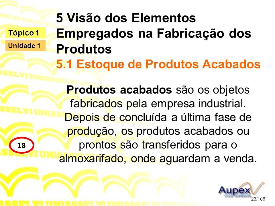 5 Visão dos Elementos Empregados na Fabricação dos Produtos 5.1 Estoque de Produtos Acabados Produtos acabados são os objetos fabricados pela empresa