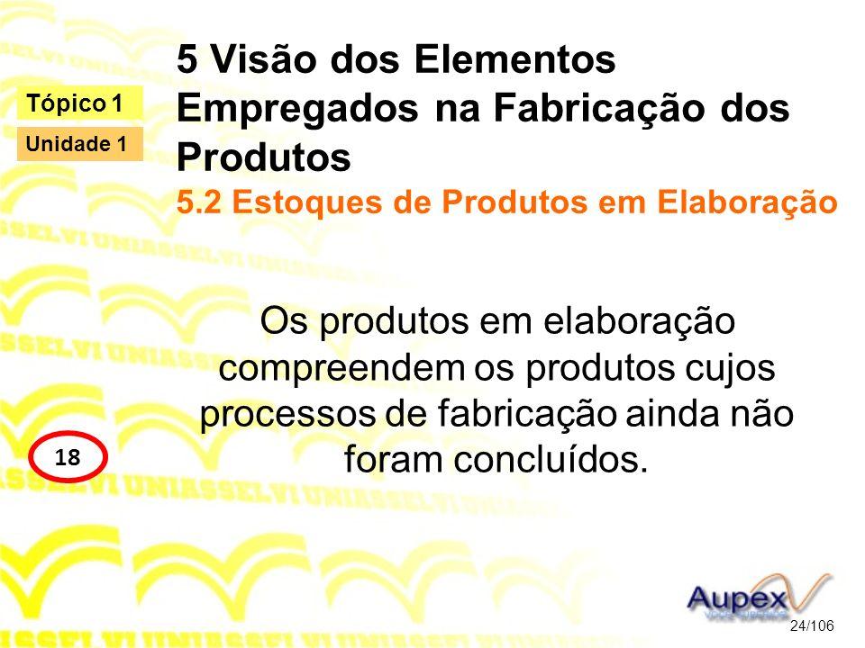 5 Visão dos Elementos Empregados na Fabricação dos Produtos 5.2 Estoques de Produtos em Elaboração Os produtos em elaboração compreendem os produtos c