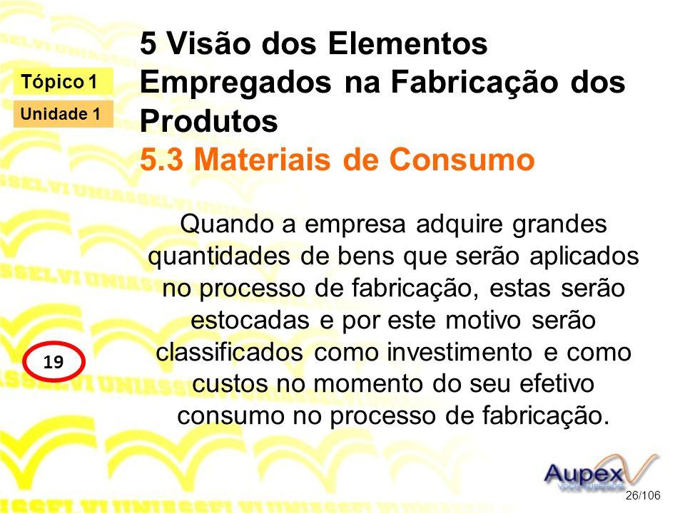 5 Visão dos Elementos Empregados na Fabricação dos Produtos 5.3 Materiais de Consumo Quando a empresa adquire grandes quantidades de bens que serão ap