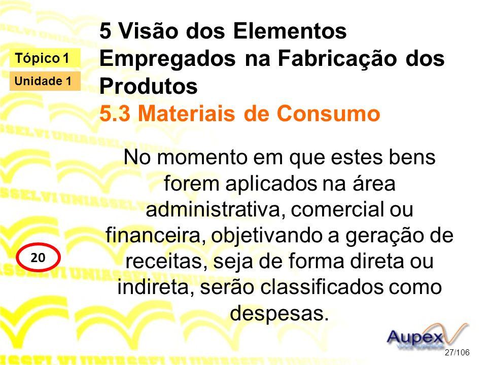 5 Visão dos Elementos Empregados na Fabricação dos Produtos 5.3 Materiais de Consumo No momento em que estes bens forem aplicados na área administrati
