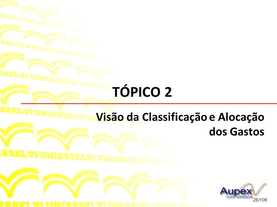 TÓPICO 2 28/106 Visão da Classificação e Alocação dos Gastos