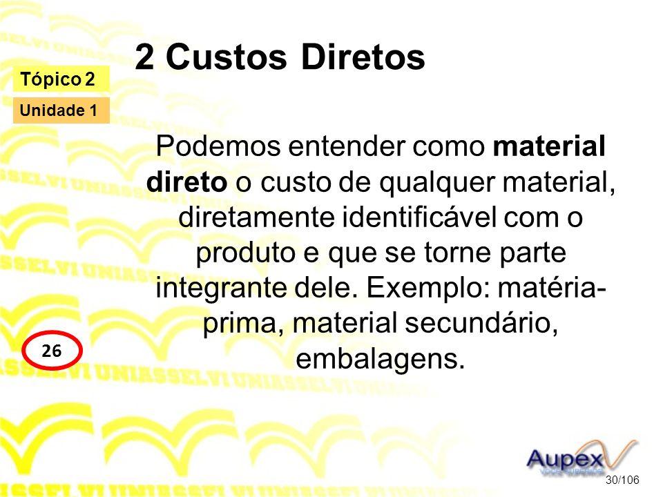 2 Custos Diretos Podemos entender como material direto o custo de qualquer material, diretamente identificável com o produto e que se torne parte inte