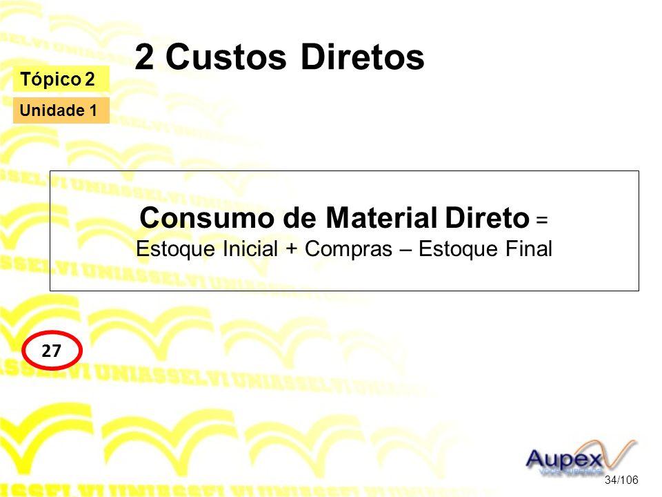 2 Custos Diretos Consumo de Material Direto = Estoque Inicial + Compras – Estoque Final 34/106 Tópico 2 27 Unidade 1