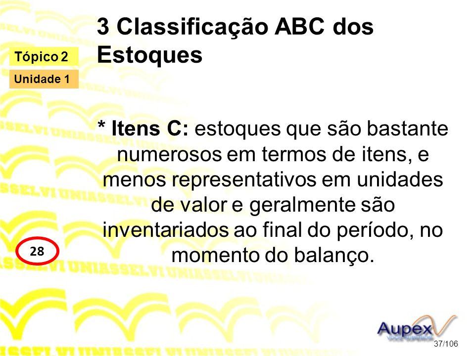 3 Classificação ABC dos Estoques * Itens C: estoques que são bastante numerosos em termos de itens, e menos representativos em unidades de valor e ger