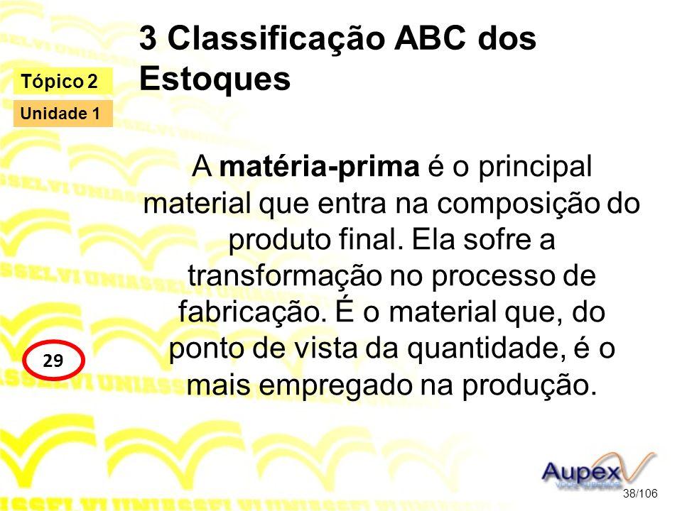 3 Classificação ABC dos Estoques A matéria-prima é o principal material que entra na composição do produto final. Ela sofre a transformação no process