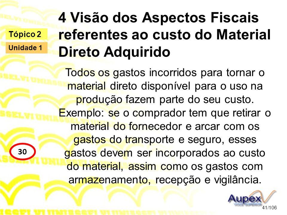 4 Visão dos Aspectos Fiscais referentes ao custo do Material Direto Adquirido Todos os gastos incorridos para tornar o material direto disponível para