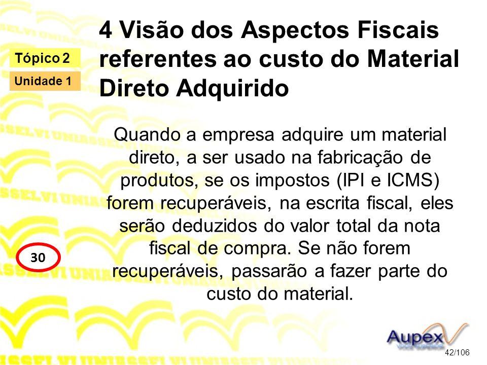 4 Visão dos Aspectos Fiscais referentes ao custo do Material Direto Adquirido Quando a empresa adquire um material direto, a ser usado na fabricação d