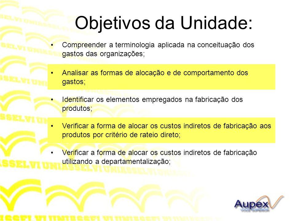 Objetivos da Unidade: Compreender a terminologia aplicada na conceituação dos gastos das organizações; Analisar as formas de alocação e de comportamen