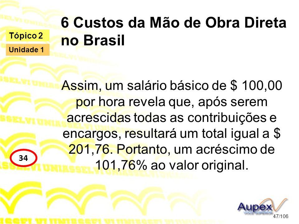 6 Custos da Mão de Obra Direta no Brasil Assim, um salário básico de $ 100,00 por hora revela que, após serem acrescidas todas as contribuições e enca