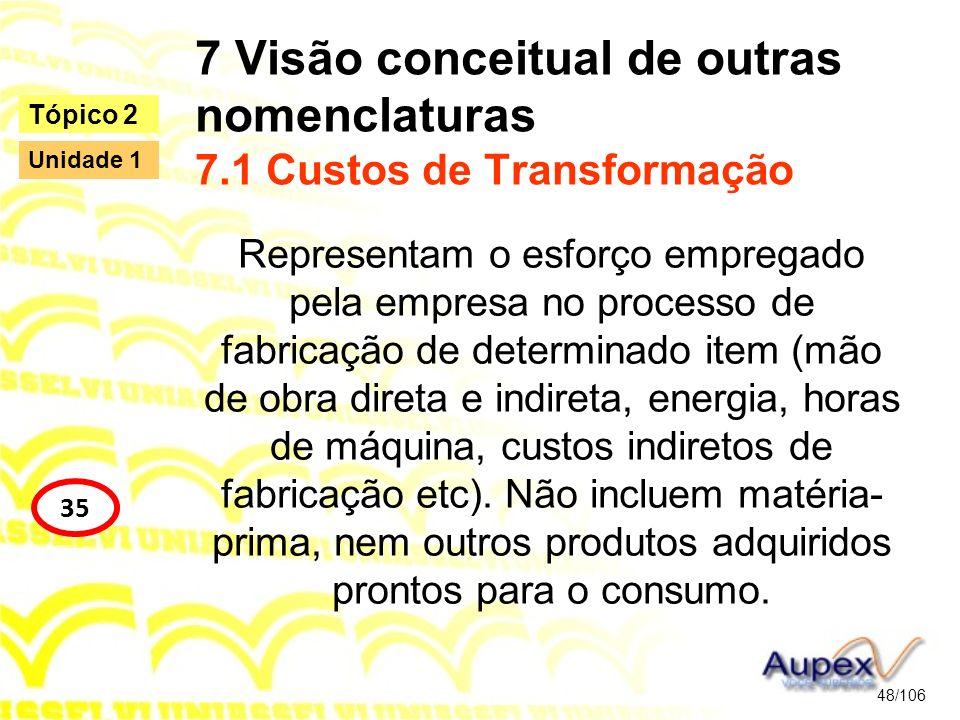 7 Visão conceitual de outras nomenclaturas 7.1 Custos de Transformação Representam o esforço empregado pela empresa no processo de fabricação de deter