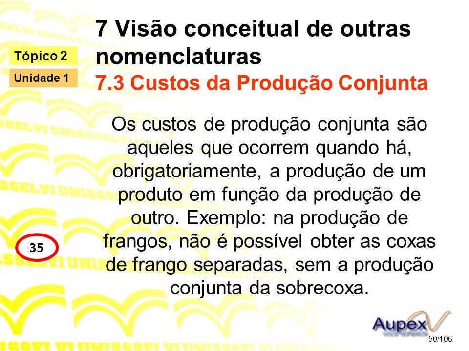 7 Visão conceitual de outras nomenclaturas 7.3 Custos da Produção Conjunta Os custos de produção conjunta são aqueles que ocorrem quando há, obrigator