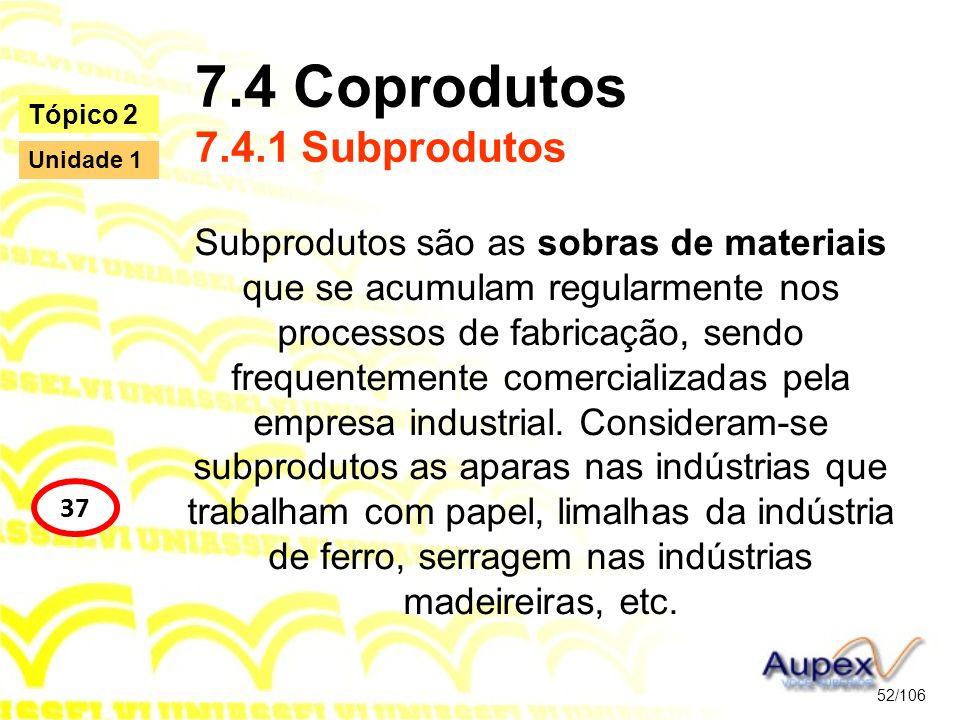 7.4 Coprodutos 7.4.1 Subprodutos Subprodutos são as sobras de materiais que se acumulam regularmente nos processos de fabricação, sendo frequentemente