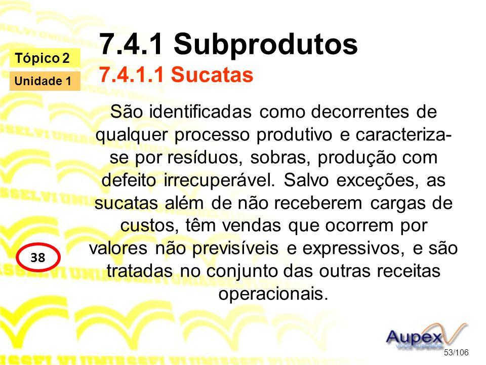 7.4.1 Subprodutos 7.4.1.1 Sucatas São identificadas como decorrentes de qualquer processo produtivo e caracteriza- se por resíduos, sobras, produção c