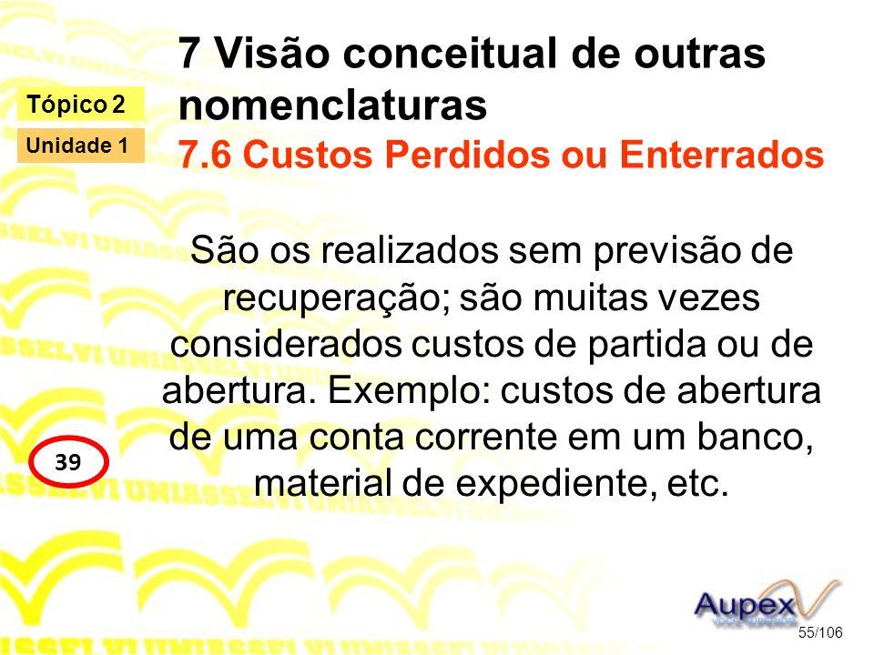 7 Visão conceitual de outras nomenclaturas 7.6 Custos Perdidos ou Enterrados São os realizados sem previsão de recuperação; são muitas vezes considera