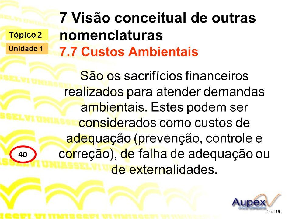 7 Visão conceitual de outras nomenclaturas 7.7 Custos Ambientais São os sacrifícios financeiros realizados para atender demandas ambientais. Estes pod