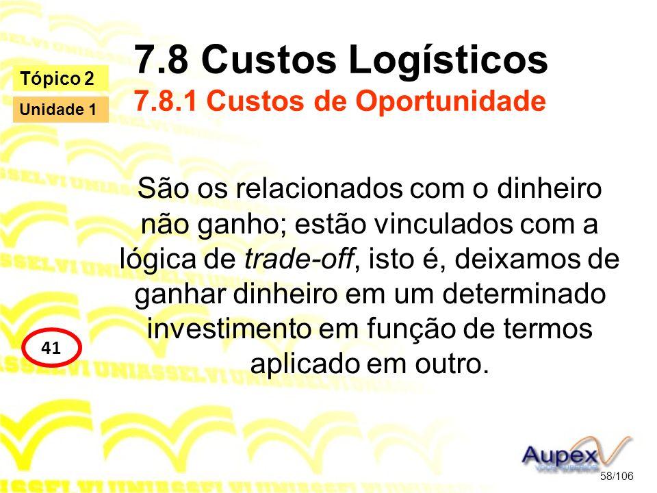 7.8 Custos Logísticos 7.8.1 Custos de Oportunidade São os relacionados com o dinheiro não ganho; estão vinculados com a lógica de trade-off, isto é, d
