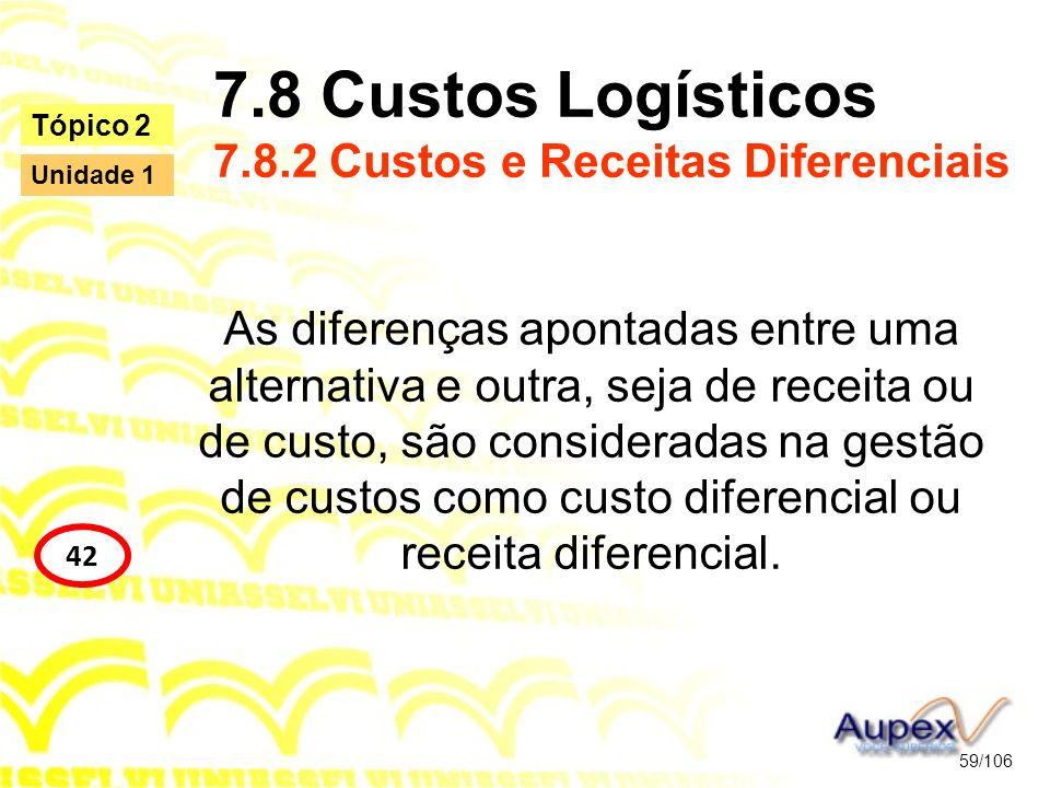 7.8 Custos Logísticos 7.8.2 Custos e Receitas Diferenciais As diferenças apontadas entre uma alternativa e outra, seja de receita ou de custo, são con