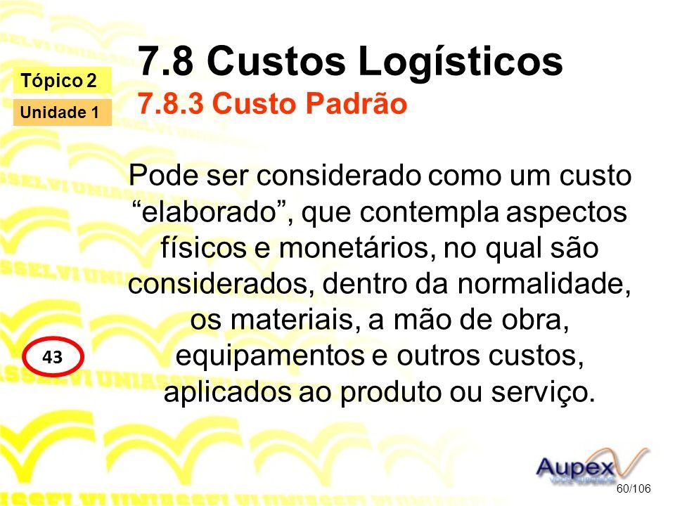 7.8 Custos Logísticos 7.8.3 Custo Padrão Pode ser considerado como um custo elaborado, que contempla aspectos físicos e monetários, no qual são consid