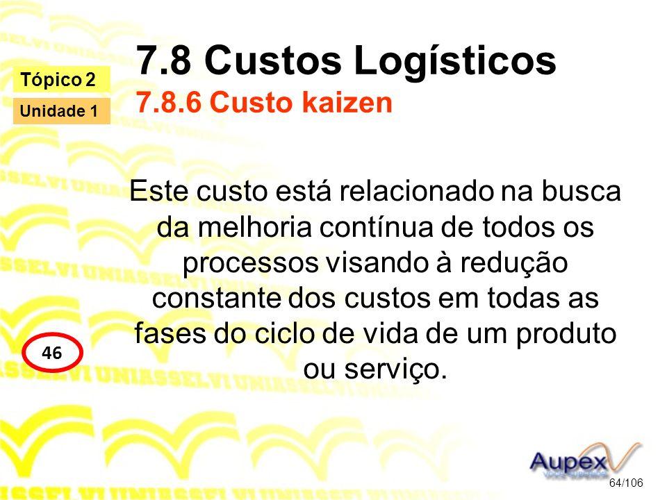 7.8 Custos Logísticos 7.8.6 Custo kaizen Este custo está relacionado na busca da melhoria contínua de todos os processos visando à redução constante d