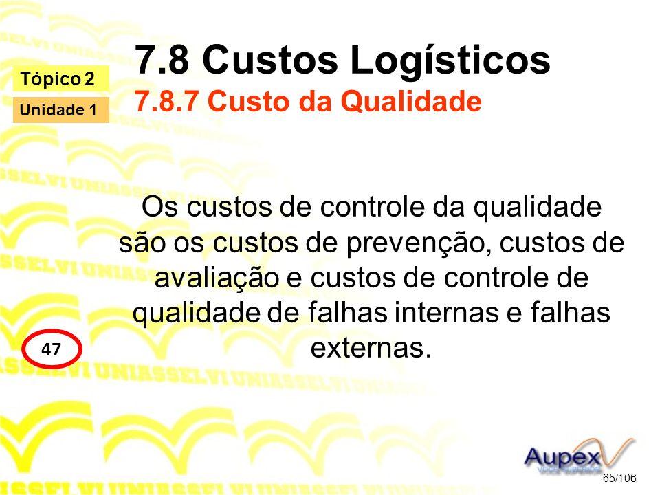 7.8 Custos Logísticos 7.8.7 Custo da Qualidade Os custos de controle da qualidade são os custos de prevenção, custos de avaliação e custos de controle
