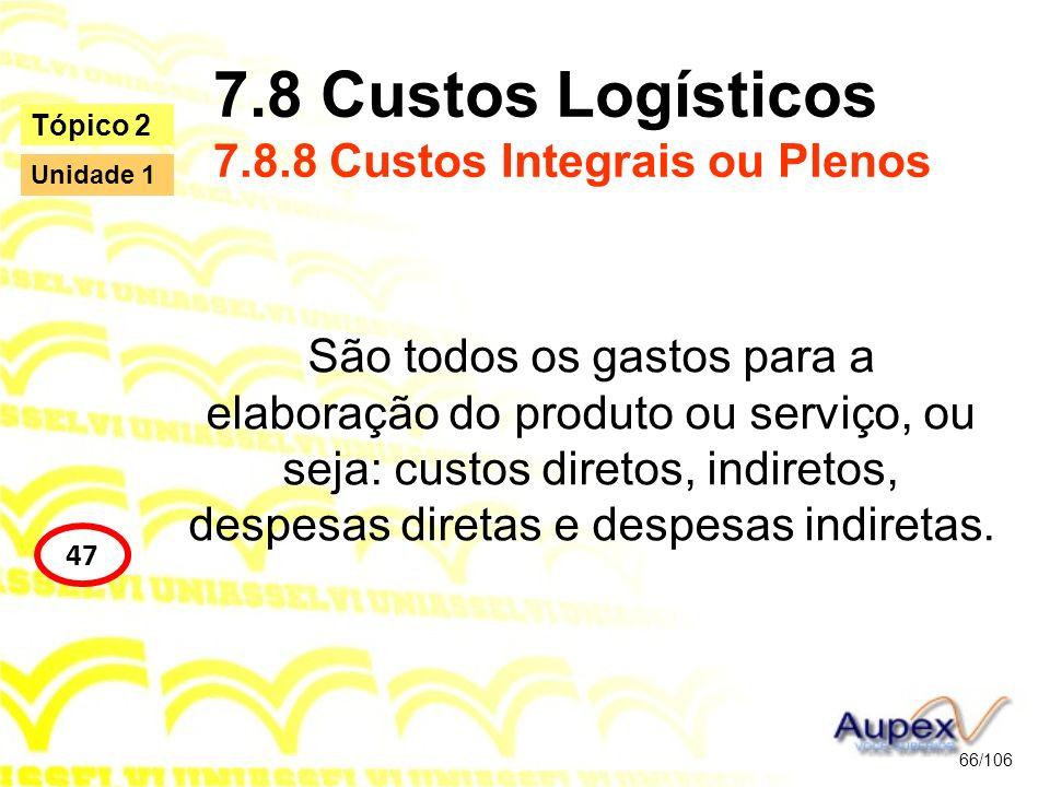 7.8 Custos Logísticos 7.8.8 Custos Integrais ou Plenos São todos os gastos para a elaboração do produto ou serviço, ou seja: custos diretos, indiretos