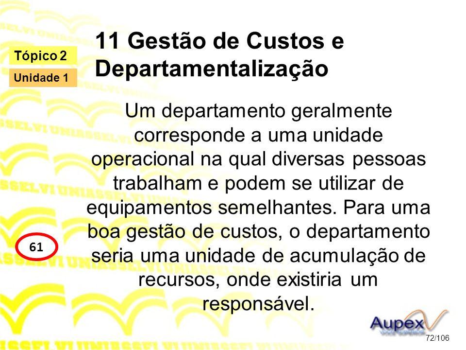 11 Gestão de Custos e Departamentalização Um departamento geralmente corresponde a uma unidade operacional na qual diversas pessoas trabalham e podem