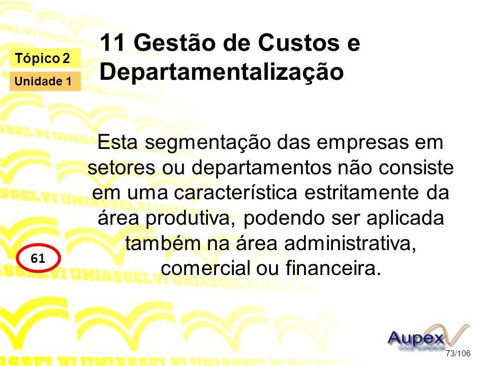 11 Gestão de Custos e Departamentalização Esta segmentação das empresas em setores ou departamentos não consiste em uma característica estritamente da