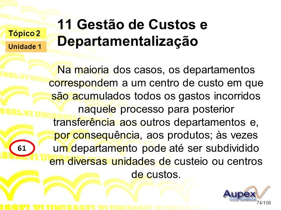 11 Gestão de Custos e Departamentalização Na maioria dos casos, os departamentos correspondem a um centro de custo em que são acumulados todos os gast